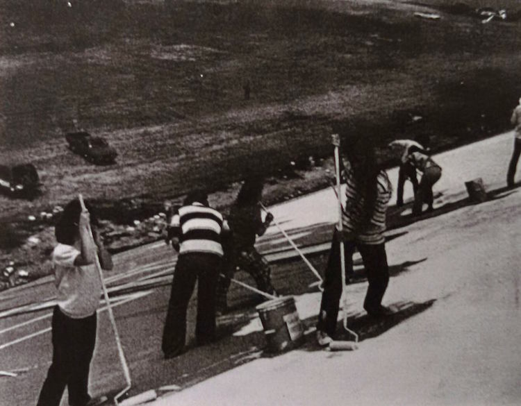 Students painting the bicentennial mural 1976